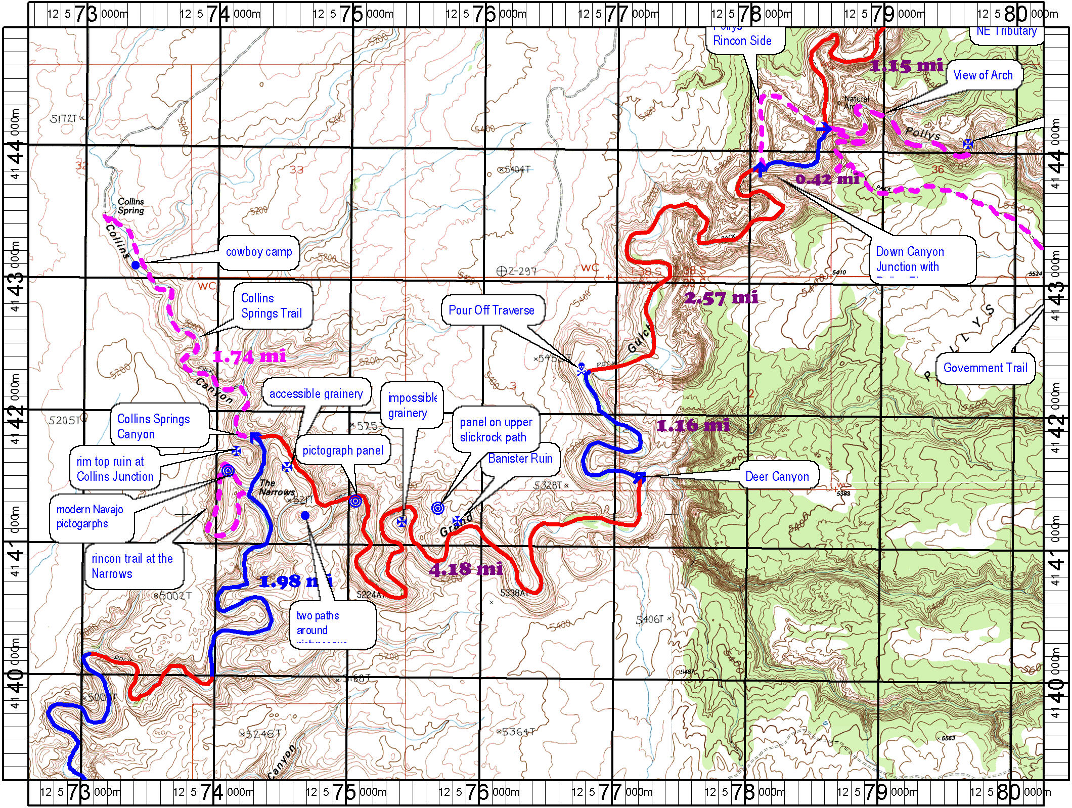 Topo Map of Grand Gulch Section 4: Pollys Canyon to Collins Spring Canyon High Resolutio